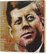 John F. Kennedy Wood Print by Corporate Art Task Force
