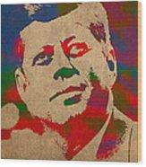 John F Kennedy Jfk Watercolor Portrait On Worn Distressed Canvas Wood Print by Design Turnpike