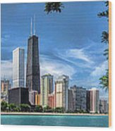 John Hancock Chicago Skyline Panorama Wood Print