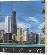 John Hancock Chicago Skyline Panorama Poster Wood Print