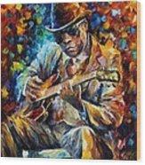 John Lee Hooker - Palette Knife Oil Painting On Canvas By Leonid Afremov Wood Print