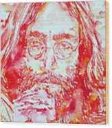 John Lennon With Rose Wood Print