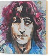 John Lennon..up Close Wood Print