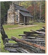 John Oliver Cabin - D000352 Wood Print by Daniel Dempster