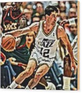 John Stockton Wood Print by Florian Rodarte