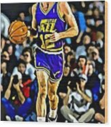 John Stockton Portrait Wood Print