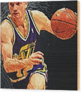 John Stockton Wood Print by Taylan Apukovska