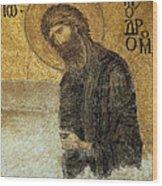 John The Baptist-detail Of Deesis Mosaic  Hagia Sophia-judgement Day Wood Print by Urft Valley Art