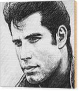 John Travolta Art Drawing Sketch Portrait Wood Print