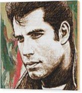 John Travolta - Stylised Drawing Art Poster Wood Print