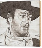 John Wayne Wood Print by Michael Mestas