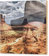 John Wayne Monument Valley Wood Print by Lester Phipps