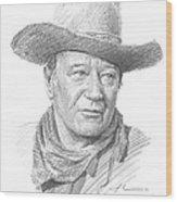 John Wayne Pencil Portrait Wood Print
