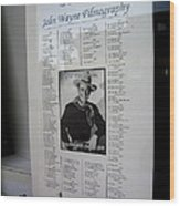 John Wayne's Filmography Bird Cage Theater Tombstone Arizona 2004 Wood Print