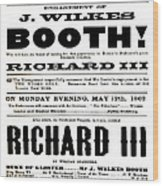 John Wilkes Booth Playbill Wood Print
