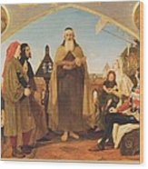 John Wycliffe Reading His Translation Of The Bible To John Of Gaunt Wood Print