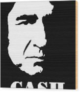 Johnny Cash Black And White Pop Art Wood Print