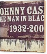 Johnny Cash Memorial Wood Print