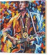 Johnny Cash - Palette Knife Oil Painting On Canvas By Leonid Afremov Wood Print