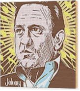 Johnny Cash Pop Art Wood Print