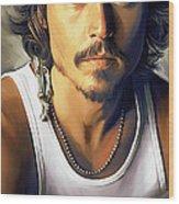 Johnny Depp Artwork Wood Print