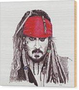 Johnny Depp As Jack Sparrow Wood Print by Martin Howard