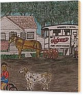 Johnsons Milk Wagon Pulled By A Horse  Wood Print