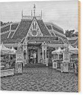 Jolly Holiday Cafe Main Street Disneyland Bw Wood Print