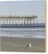 Jolly Roger Pier On Topsail Beach Nc Wood Print