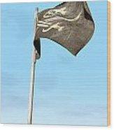 Jolly Roger Pirate Flag Far Wood Print