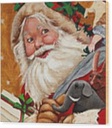 Jolly Santa Wood Print