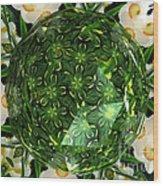 Jonquil Kaleidoscope Under Polyhedron Glass Wood Print