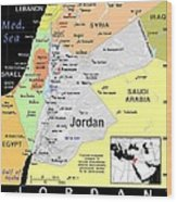 Jordan Exotic Map Wood Print by Florene Welebny