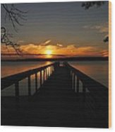 Jordan Lake Sunset Wood Print