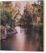 Jordan River At Dusk Wood Print by Lawrence Berke
