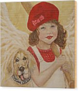 Joscelyn And Jolly Little Angel Of Playfulness Wood Print by The Art With A Heart By Charlotte Phillips