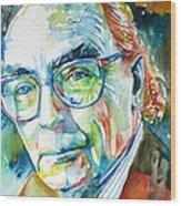 Jose Saramago Portrait Wood Print