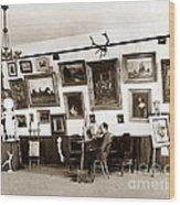 Joseph Kurtz Oliver Artist In His Studio Monterey Circa 1905 Wood Print