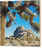 Joshua Tree And Jumbo Rocks By Quail Springs In Joshua Tree Np-ca Wood Print