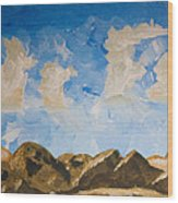 Joshua Tree National Park And Summer Clouds Wood Print