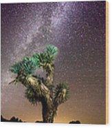 Joshua Tree Vs The Milky Way Wood Print
