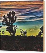 Joshua Trees In Cima Valley Wood Print