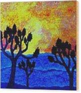 Joshua Trees in Silhouette II Wood Print