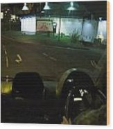 Joy Ride At Mid Night In Paris View From Rear   Of Limo Wood Print