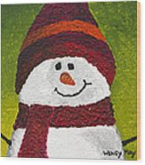 Joyce The Snowman Wood Print