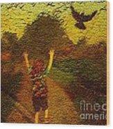 Joyful Bird Chase Wood Print