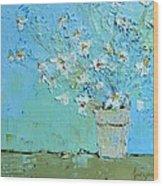 Joyful Daisies, Flowers, Modern Impressionistic Art Palette Knife Oil Painting Wood Print