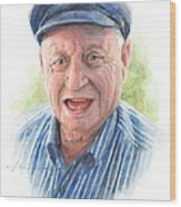 Joyful Grandfather Watercolor Portrait  Wood Print