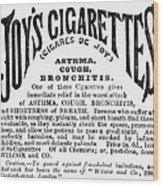 Joys Cigarettes, 1884 Wood Print
