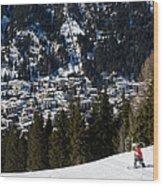 Jschalp Landscape Davos Town And Snowboarder Wood Print